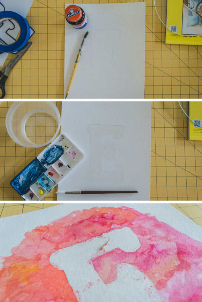 steps for water color letter art