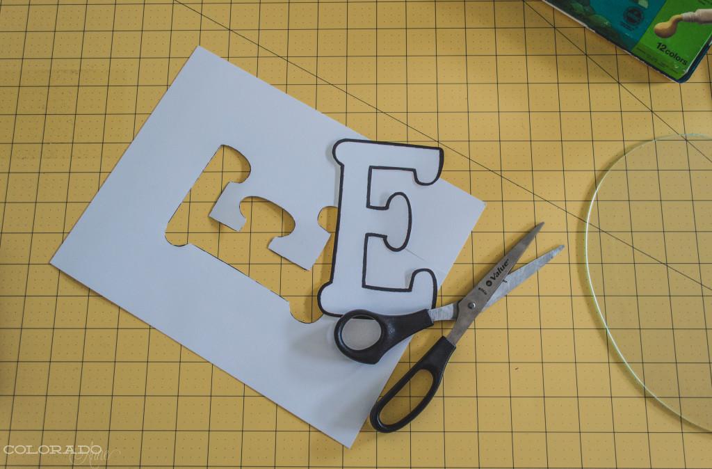 E shaped stencil
