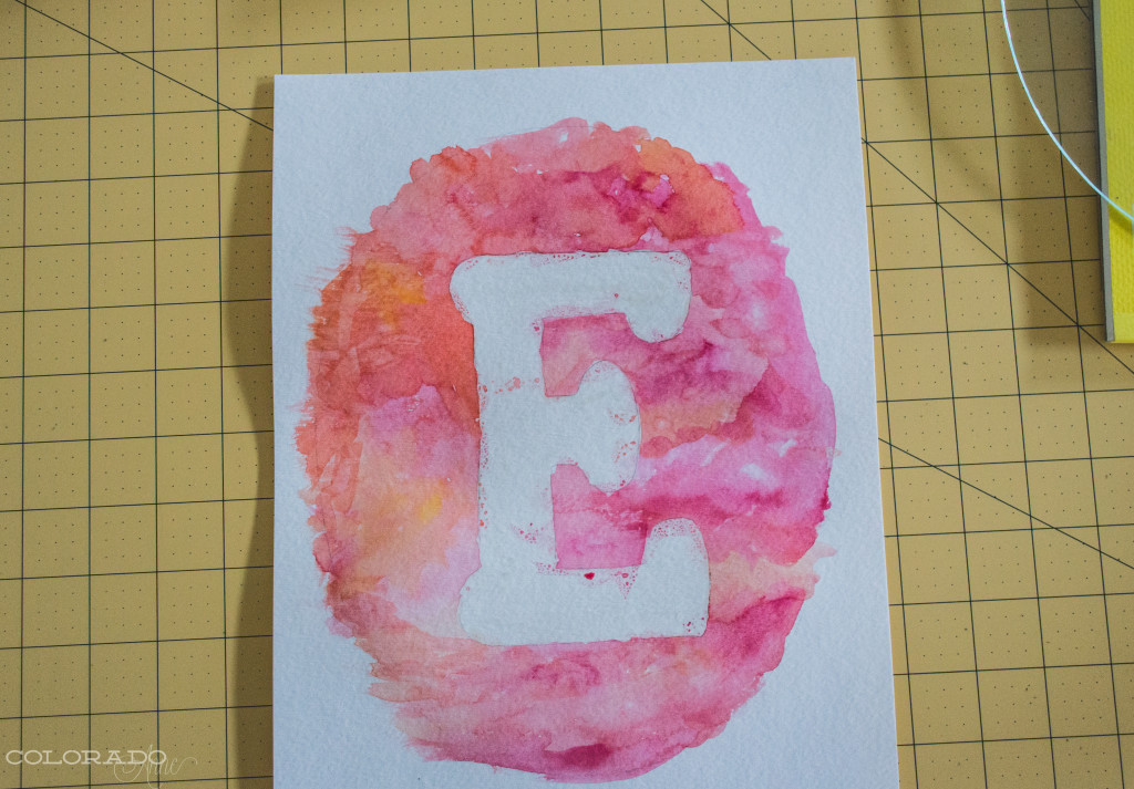 water color and rubber cement letter