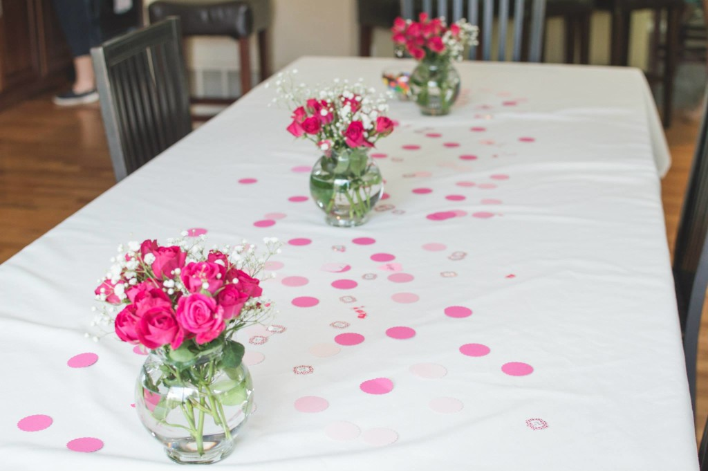 table flowers - Chevron Baby Shower