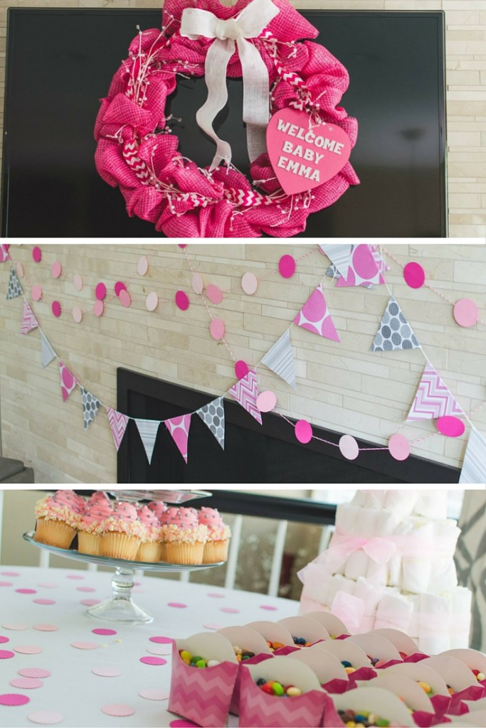 Pink & Gray Chevron Baby Shower - Baby Girl